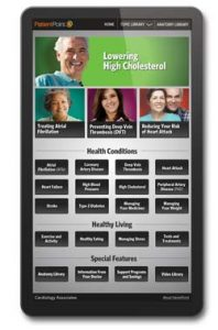 Patient Point system on a tablet - education section